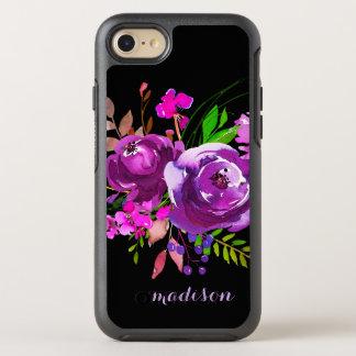 Capa Para iPhone 8/7 OtterBox Symmetry Buquê floral da aguarela roxa