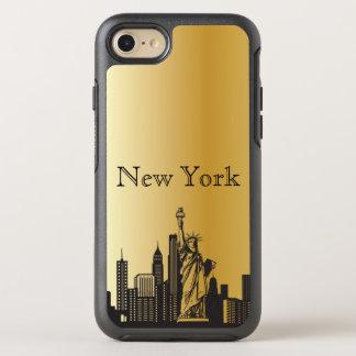 Capa Para iPhone 8/7 OtterBox Symmetry Caixa da silhueta da skyline de New York do ouro