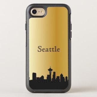 Capa Para iPhone 8/7 OtterBox Symmetry Caixa da silhueta da skyline de Seattle do ouro