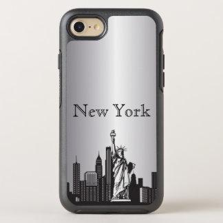 Capa Para iPhone 8/7 OtterBox Symmetry Caixa de prata da silhueta da skyline de New York