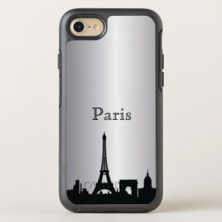 Capa Para iPhone 8/7 OtterBox Symmetry Caixa de prata da silhueta da skyline de Paris