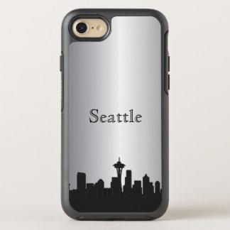 Capa Para iPhone 8/7 OtterBox Symmetry Caixa de prata da silhueta da skyline de Seattle