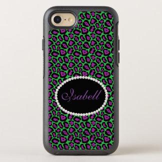 Capa Para iPhone 8/7 OtterBox Symmetry Caixa verde & roxa chique do monograma do