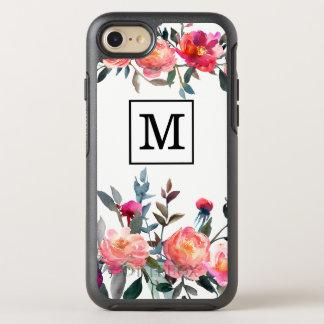 Capa Para iPhone 8/7 OtterBox Symmetry Caso do monograma da flor da aguarela
