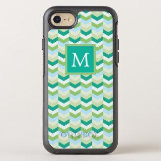Capa Para iPhone 8/7 OtterBox Symmetry Cerceta do monograma | & Herringbone verde