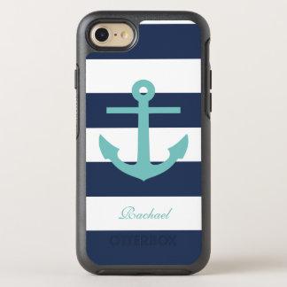 Capa Para iPhone 8/7 OtterBox Symmetry Cerceta e teste padrão azul da âncora e das