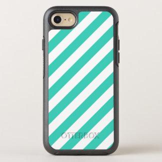 Capa Para iPhone 8/7 OtterBox Symmetry Cerceta e teste padrão diagonal branco das listras