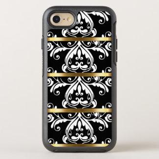 Capa Para iPhone 8/7 OtterBox Symmetry Cor damasco preto e branco do ouro elegante