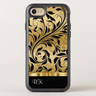 Capa Para iPhone 8/7 OtterBox Symmetry Cor luxuosa do ouro do monograma floral