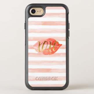 Capa Para iPhone 8/7 OtterBox Symmetry Cora o beijo cor-de-rosa da aguarela do ouro XOXO
