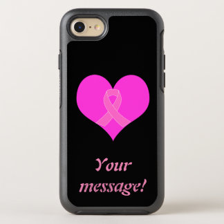 Capa Para iPhone 8/7 OtterBox Symmetry Coração e design da caridade do cancro da mama da