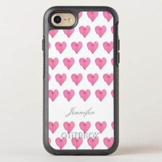 Capa Para iPhone 8/7 OtterBox Symmetry Corações da aguarela com caso conhecido