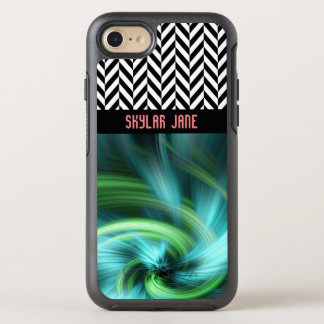 Capa Para iPhone 8/7 OtterBox Symmetry Cores personalizadas de turquesa de Herringbone -