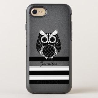 Capa Para iPhone 8/7 OtterBox Symmetry Coruja gráfica em fundo listrado com nome