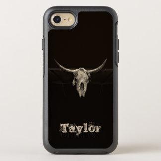 Capa Para iPhone 8/7 OtterBox Symmetry Crânio rústico do búfalo do Sepia com chifres