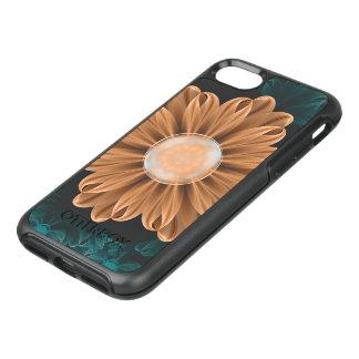 Capa Para iPhone 8/7 OtterBox Symmetry Crisântemo bonito do paraíso da laranja & do Aqua