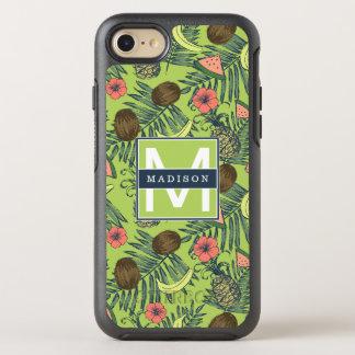 Capa Para iPhone 8/7 OtterBox Symmetry Esboço da fruta tropical no teste padrão verde