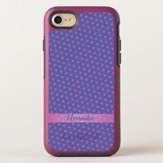 Capa Para iPhone 8/7 OtterBox Symmetry Estrelas cor-de-rosa em um fundo azul