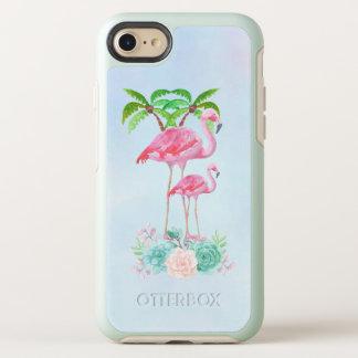 Capa Para iPhone 8/7 OtterBox Symmetry Flamingo cor-de-rosa Momma & bebê com palmeiras