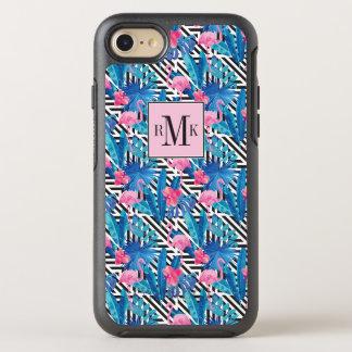 Capa Para iPhone 8/7 OtterBox Symmetry Flamingo & palmas no teste padrão geométrico