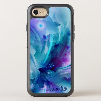 Capa Para iPhone 8/7 OtterBox Symmetry Flor abstrata bonito azul & do roxo