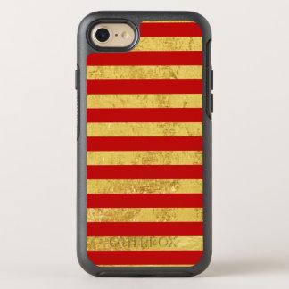 Capa Para iPhone 8/7 OtterBox Symmetry Folha de ouro elegante e teste padrão vermelho da