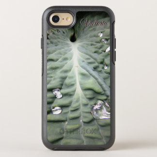 Capa Para iPhone 8/7 OtterBox Symmetry Folha tropical verde com gotas de água