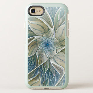 Capa Para iPhone 8/7 OtterBox Symmetry Fractal Khaki azul do abstrato ideal floral do