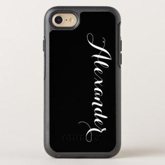 Capa Para iPhone 8/7 OtterBox Symmetry Fundo da cor de DIY, preto conhecido do monograma