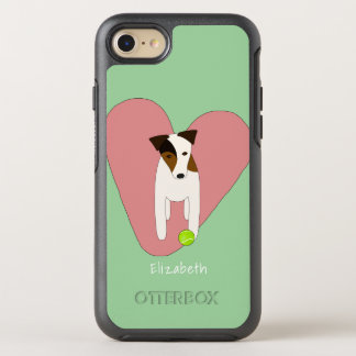 Capa Para iPhone 8/7 OtterBox Symmetry Hortelã do rosa da bola de tênis do coração do cão