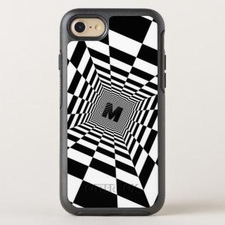 Capa Para iPhone 8/7 OtterBox Symmetry Ilusão, monograma ou inicial visual preta & branca