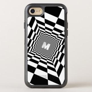 Capa Para iPhone 8/7 OtterBox Symmetry Ilusão óptica preta & branca, monograma branco