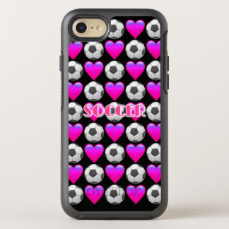 Capa Para iPhone 8/7 OtterBox Symmetry iPhone cor-de-rosa de Emoji do futebol 8/7 de caso