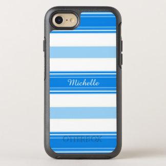 Capa Para iPhone 8/7 OtterBox Symmetry Listra azul e branca personalizada