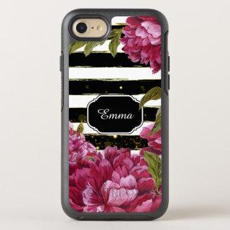 Capa Para iPhone 8/7 OtterBox Symmetry Listra branca preta floral da peônia cor-de-rosa