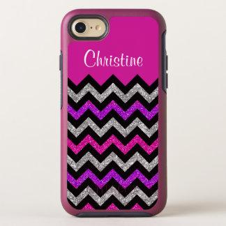 Capa Para iPhone 8/7 OtterBox Symmetry Listras roxas cor-de-rosa de prata de Chevron do