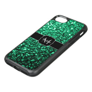 Capa Para iPhone 8/7 OtterBox Symmetry Monograma bonito dos sparkles do brilho do verde