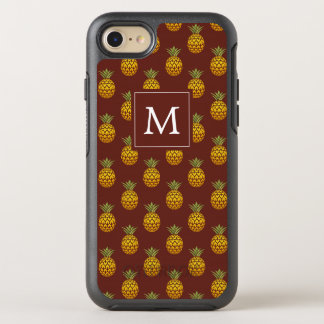 Capa Para iPhone 8/7 OtterBox Symmetry Monograma | Borgonha & abacaxis do ouro