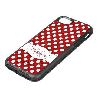Capa Para iPhone 8/7 OtterBox Symmetry Monograma branco vermelho na moda das bolinhas