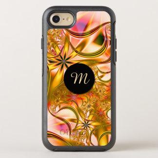 Capa Para iPhone 8/7 OtterBox Symmetry Monograma de florescência do ouro do Fractal