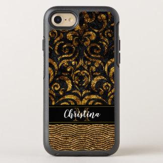 Capa Para iPhone 8/7 OtterBox Symmetry Monograma elegante de Bling do damasco do preto