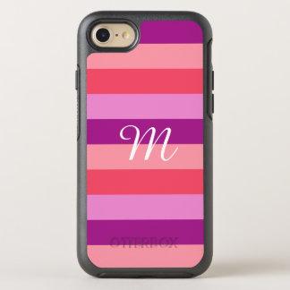 Capa Para iPhone 8/7 OtterBox Symmetry Monograma listrado roxo e coral