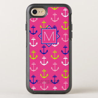 Capa Para iPhone 8/7 OtterBox Symmetry Monograma náutico cor-de-rosa & azul de |