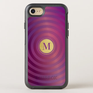Capa Para iPhone 8/7 OtterBox Symmetry Monograma roxo legal do ouro do teste padrão da