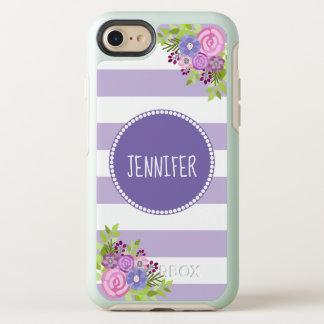 Capa Para iPhone 8/7 OtterBox Symmetry Nome branco roxo floral elegante do monograma da