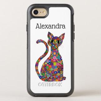 Capa Para iPhone 8/7 OtterBox Symmetry Nome colorido do monograma do gato do teste padrão