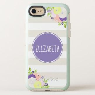 Capa Para iPhone 8/7 OtterBox Symmetry Nome roxo listrado bege floral elegante do