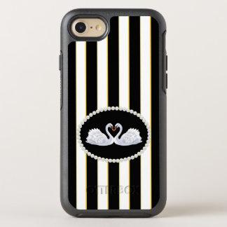 Capa Para iPhone 8/7 OtterBox Symmetry O preto elegante listra a caixa das cisnes