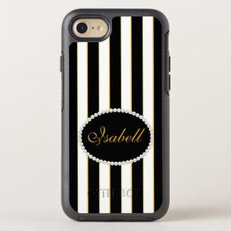 Capa Para iPhone 8/7 OtterBox Symmetry O preto elegante listra a caixa do monograma