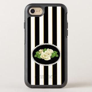 Capa Para iPhone 8/7 OtterBox Symmetry O preto elegante listra a caixa dos rosas brancos